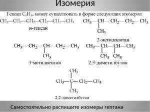 Свойства гексана и его изомеров