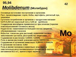 Польза молибдена для человеческого организма